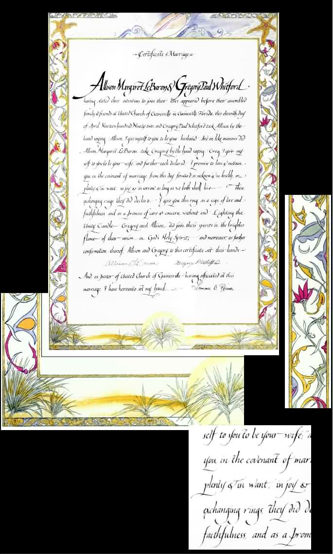SAMPLE MARRIAGE CERTIFICATE OCEANSIDE with SCROLLWORK